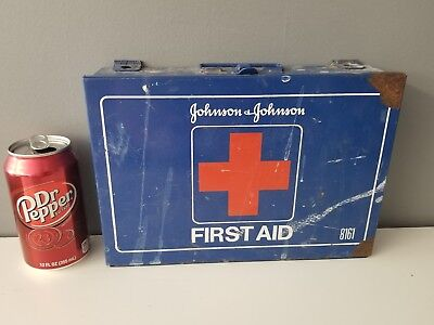 Johnson & Johnson First Aid Kit #8161 Blue Metal Box with various items