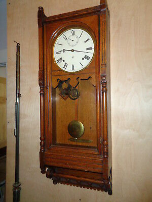 "Antique-Seth Thomas-Oak ""Queen Anne"" Wall Clock-Ca.1880-To Restore-#P170"