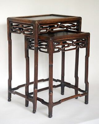 Lovely Pair of 19th C Antique Chinese Carved Wooden Stacking Tables