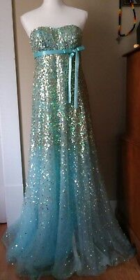 1eb3739f6cc00 Beyond by Jovani Prom Homecoming Formal Dress Gown Blue Gold Sequin SZ 6  PRETTY!