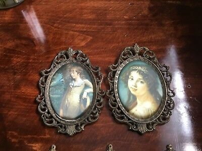 5 Vintage Ornate Metal Mini Picture Frames With silk Pictures Made In Italy