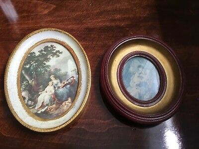 Pair of wood Picture Frames With Pictures Made In Italy