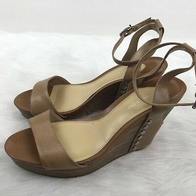 46000a9e83 GIANNI BINI WOMENS Brown Leather Ankle Strap Wooden Wedge sandals ...