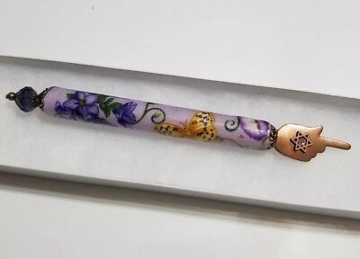 torah pointer- Elegant Handmade Yad with Butterfly Motif with Purple Gem acsents