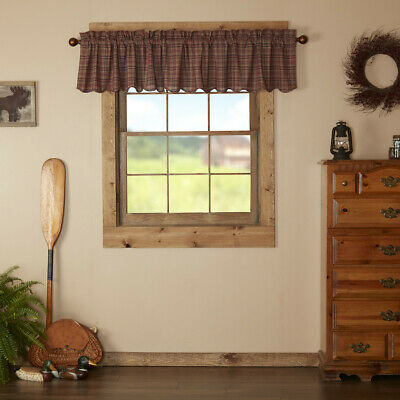Parker Burgundy Plaid Scalloped Country Cottage Lined Window Valance