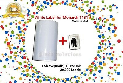 1 SLEEVE(8 ROLL) WHITE LABEL INCLUDES INK for MONARCH 1131 LABELER *MADE IN USA
