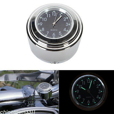 """7/8"""" 1"""" Motorcycle Accessory Handlebar Mount Clock Watch Thermometer Waterproof"""