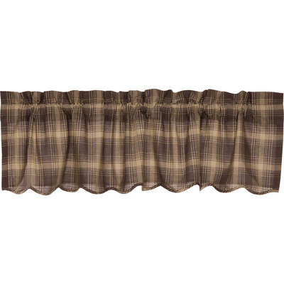 Dawson Star Woodland Brown Cotton Rustic Country Cabin Lined Window Valance