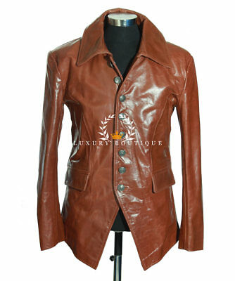 ef64e0733 ANTHONY VINTAGE BROWN Men's Smart Double Breasted Cowhide Leather ...