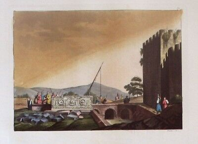 1825 - Jerusalem Sarkophag Israel Grab Aquatinta aquatint antique print
