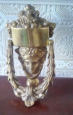 Antique/vintage  Large Heavy Brass Roman Face Head Door Knocker