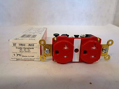 New  Pass & Seymour Tr63-Red Duplex Hospital Grade Red Receptacle 20 A 125V