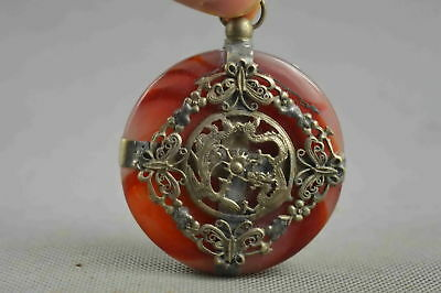 Collectable Decorative Old Jade Armor Miao Silver Carve Exorcism Dragon Pendant