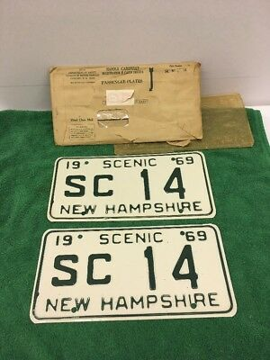 Pair 1969 New Hampshire License Plates SC 14 SCENIC 69 NH White -low #