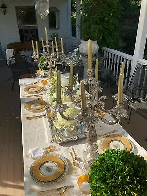 Enormous Pair of Antique French Empire Style Silver Plate Candelabras – 2 feet