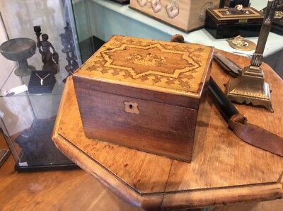 Lovely Victorian Mahogany Inlaid Jewel Box Jewellrey Case Money Change Box