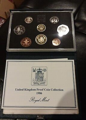 1986 United Kingdom UK Cameo Proof Coin Set Collection in Original Case with COA