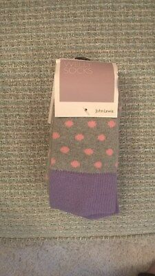 Brand New John Lewis Ladies Knee High Grey / Pink Spots Welly Socks Size 4-8