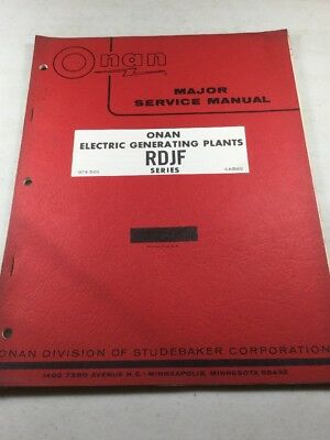 Onan RDJF Series Electric Generating Plants Service Manual