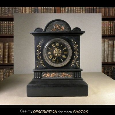 Victorian French Classical Revival Black Marble Mantle Clock Shreve Crump Low