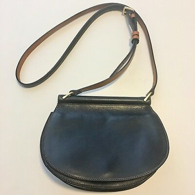 VERA BRADLEY BLACK Leather Saddle Bag Crossbody Purse Handbag ... 1baf363d9bec6