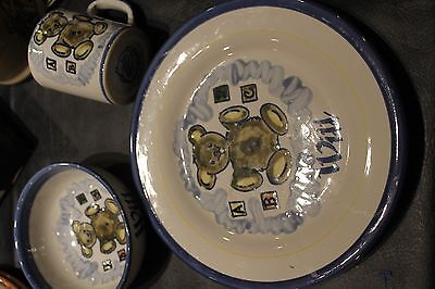 Louisville Stoneware Pottery Child's Dish Set Cup Bowl Plate Bear Will