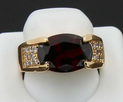 Beautiful Natural 3.15CT Garnet & Solid 14K Yellow Gold Antique Lady Ring 6