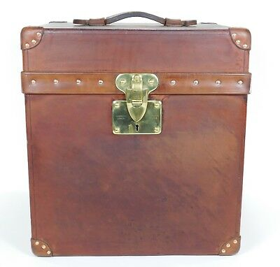 Antique Vintage Louis Vuitton Leather Trunk Cube Box Steamer Hat Chest Case 1425