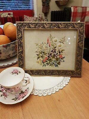 Beautiful Framed Vintage Hand Embroidered Picture Of Meadow Flowers