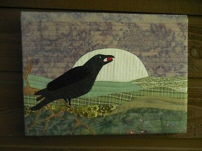 Quilted crow berry Field Moon Purple Farm Country Quilt wall hanging