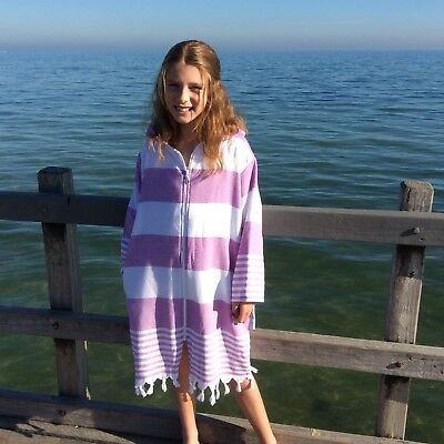 Turkish hooded towel robe Back Beach Co Purple stripe