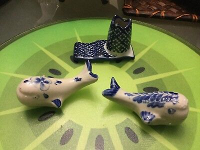Lot of 3 porcelain blue and white collectables Near new