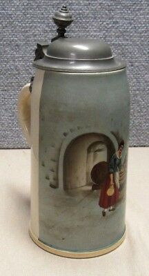 Antique Lidded Beer Stein Couple In Wine Cellar 1L Hand Painted