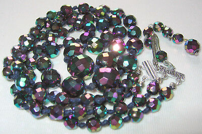 Antique Vintage Art Deco - 50's 2 Row Carnival Ab Crystal Glass Beads Necklace