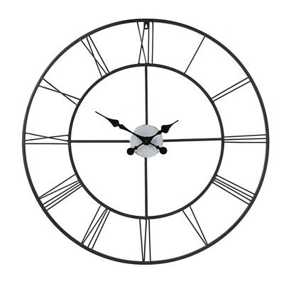 Oversized Wall Clock 30 In Metal Classic Vintage Home Decor Large Roman Numerals