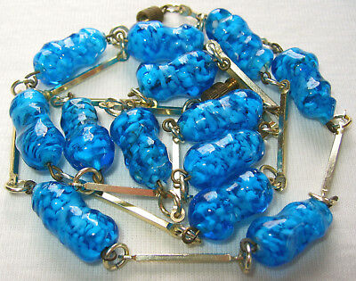 """V PRETTY 30"""" LONG ANTIQUE VINTAGE ART DECO TO 60's SOMMERSO GLASS BEADS NECKLACE"""