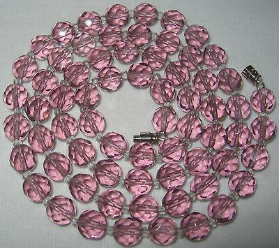 """30"""" LONG ANTIQUE VINTAGE ART DECO TO 50's L AMETHYST CRYSTAL GLASS BEAD NECKLACE"""