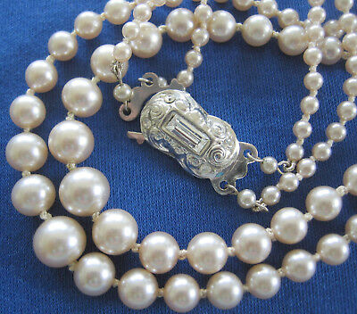 Antique Vintage Art Deco 2 Row Knotted Glass Pearl Beads Necklace Lovely Clasp