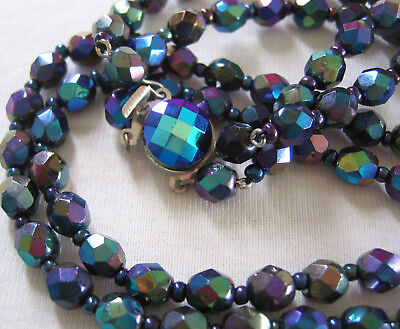 Antique Vintage Art Deco To 50's 2 Row Carnival Ab Crystal Glass Beads Necklace