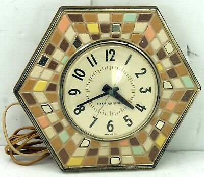 General Electric Vintage Retro 1960's Wall Clock Mosaic Hexagon Working 2118A