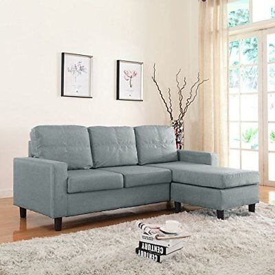 Modern Living Reversible Fabric Sectional Sofa Small Space Couch