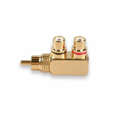 RCA Splitter,RCA Male to 2 RCA Female M/F Gold-Plated Metal Connector,gold D8M1
