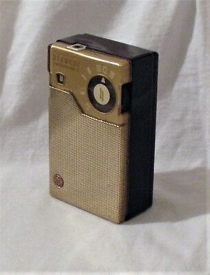 Vintage 1959 HITACHI 666 Transistor Radio & Case~SHARP JAPAN Reverse Paint