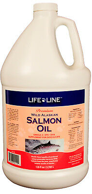 Life Line Wild Alaskan Salmon Oil for pets, dogs, cats, FRESH, Premium, 1 gallon