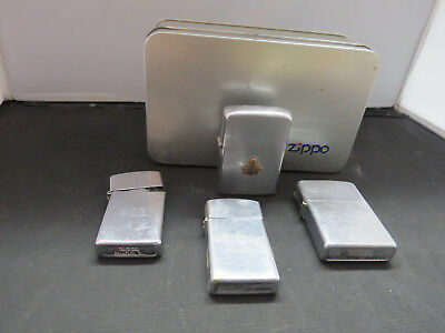 Lot of 4 Used Vintage Zippo Lighters with Zippo Tin - 1 is Masonic