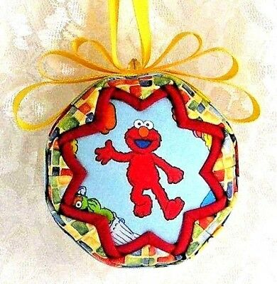 Elmo & Big Bird On Bk Sesame St Inspired Quilted Ball Ornament Great Gift Newb24