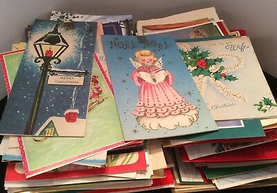 Lot Of 300 + Vintage Christmas Cards Great For Crafts