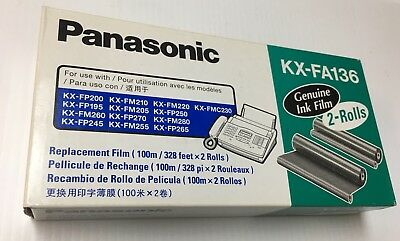 PANASONIC KX-FA136 Fax Toner Replacement Ink Film 2 Roll Pack Genuine NEW SEALED