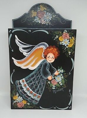 "Vintage Wood 11"" Wall Cabinet Black Hand Painted Tole Folk Art"
