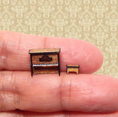 1/144th Scale Dollhouse Miniature Upright Piano with Bench Seat Wood Handcrafted